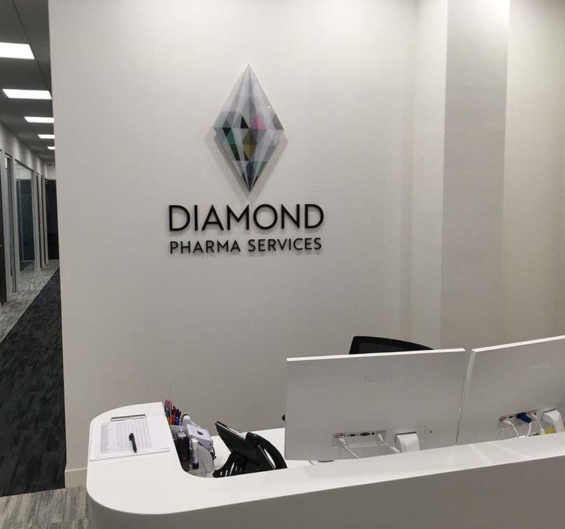 89 diamond reception office acrylic wall sign london