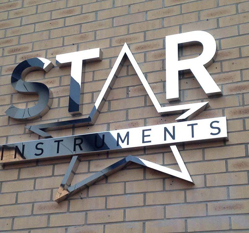89 star instruments sign 3d metal built up letters cambridge