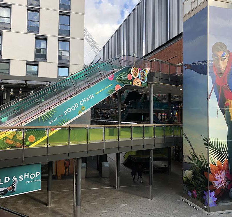90 shopping centre wall window vinyl graphic print london